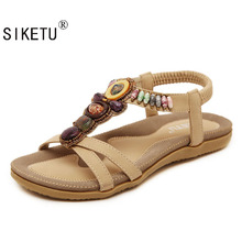SIKETU Free Shipping 2017New National Style Women Sandals Bohemia Flats Beaded Size Foreign Trade Shoes Summer Shoes Women Shoes
