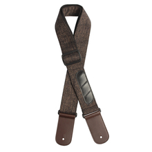 New Guitar Strap Multifunction Linen Cowhide Guitarra Pick Holder Straps with 3 Pick for Electric Acoustic Bass Guitar(China)