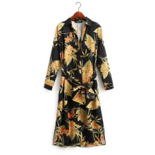 Spring Autumn Fashion Women Long Sleeve Vintage Dress Floral Printed V Neck Split Side Sexy Dress Slim Wait Casual Dress(China)