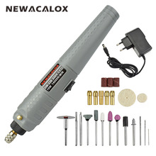 NEWACALOX EU 10W Electric Mini Die Grinder Cordless Rechargeable Rotary Engrave Dremel Grinding Sanding Drill Tool Kit(China)