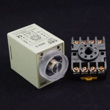 1 set/Lot AH3-3 DC 24V 3Min 180S Power On Delay Timer Time Relay 24VDC 3M 0-3 Minute 8 Pins With PF083A Socket Base