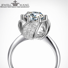Jewellwang Moissanite 18K White Gold Ring for Women 0.5 Carat Flower Certified Jk/vvs1 Forever Classic Engagement Rings Special