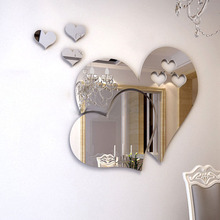 2017 New 3D Acrylic Mirror Love Hearts Wall Stickers Home Decor Sticker DIY Home Room Art Mural Decor Removable