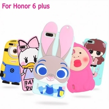 3D Cartoon ZOOTOPIA Judy Bunny lovely girl Daisy duck Minion bear Character soft silicone case cover for Huawei Honor 6 plus