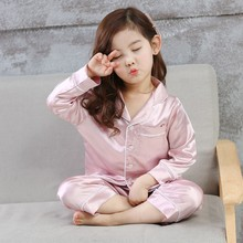 WEIXINBUY Children Silk Pajamas Boy Girl Home Suit Spring Pure Silk Baby Pajamas Air Conditioning Clothes(China)