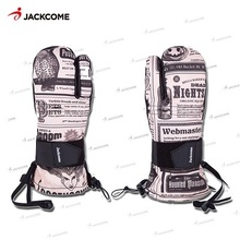 JACKCOME snowmobile Ski Gloves Cartoon yellow peopleWaterproof Skiing Snowboard Mitten Windproof Leather Warm Snowmobile Gloves(China)