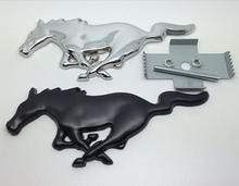 Free shpping Car Front Grille Emblem Badge Silver black Horse for Mustang Cobra Jet Shelby