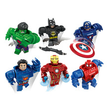 6pcs/lot The Avengers Marvel Super Heroes Captain America Hulk Batman Action Figure Toys Collection Model Christmas