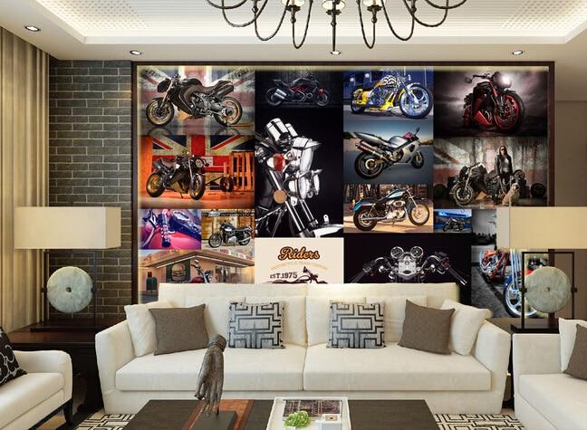The custom 3D murals,motorcycle European style retro wallpaper papel de parede,living room sofa TV wall bedroom wall paper<br>