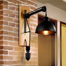 Loft Style Wood Iron Pulley Lifting Vintage Wall Light Fixtures Industrial Wind Edison Wall Sconce Stair Bedside Wall Lamp
