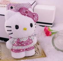 3D Bling High Quality Crystal Hello Kitty Cabochon DIY Cell phone Case for iphone 7 plus case for samusng case