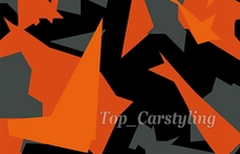 Camouflage Camo Vinyl Black & Gray & Orange camo vinyl film with Bubble Free For Vehicle Wraps