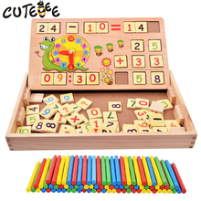 CUTEBEE Wooden Toys for Children Montessori Toy Math Toy Cube Educational Function Digital Mathematical Box for Kids Baby Toys(China)