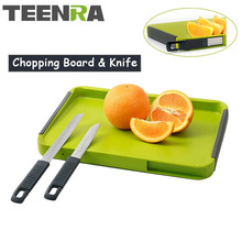 TEENRA Green Non-slip Kitchen Chopping Board TPR Cutting Board Fruit and Vegetable Cutting Board Hidden Kinives Kitchen Tools(China)