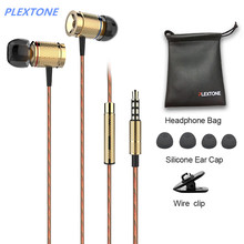 PLEXTONE X53M magnet movement earphone wire control headphones metal movement headsets with wheat 3.5mm plug gold gray black(China)