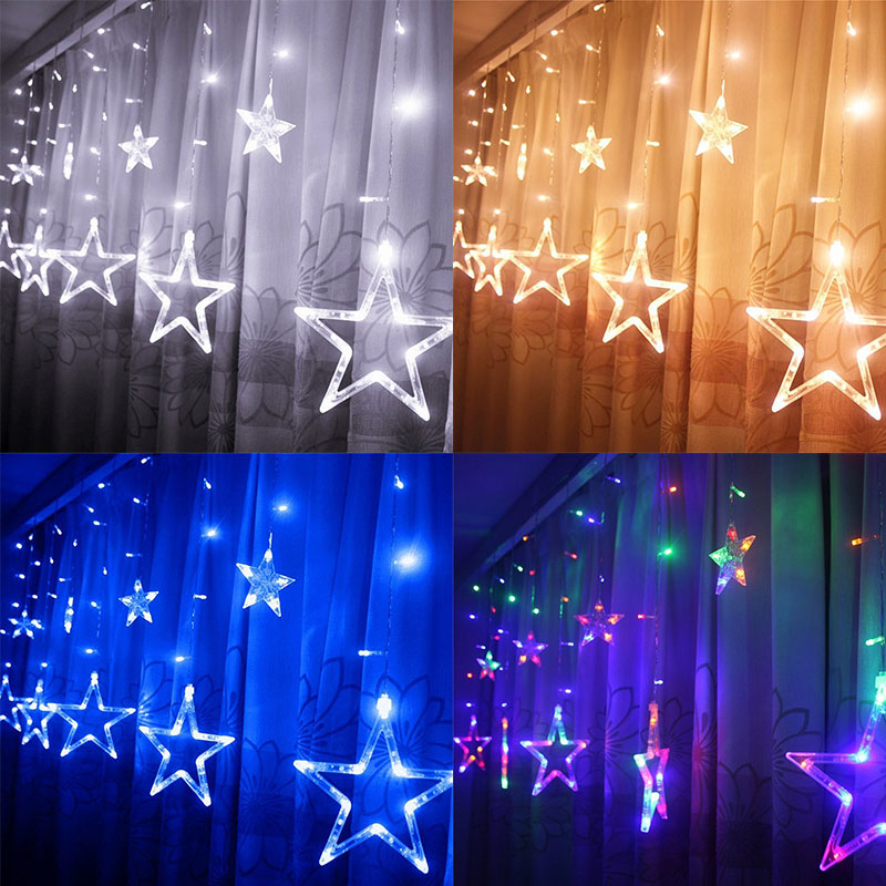 romantic 138 led star curtain string light 8 flashing modes with waterproof for wedding christmas wedding - Christmas Light Flasher Plug