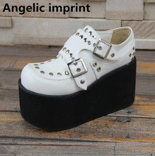 Angelic imprint woman mori girl lolita cosplay cool punk motorcycle shoes lady high heels wedges pumps women trifle heel shoes(China)