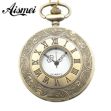 low price good quality retro vintage bronze man father classic men gift roman numbers quartz pocket watch with  waist chain