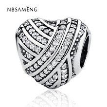 Authentic 925 Sterling Silver Bead Charm Love Lines Heart Full White Crystal Heart Beads Fit Pandora Bracelets Bangles Jewelry(China)