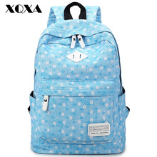 XQXA Quality canvas floral printing backpack women laptop bag backpack teenager girls rucksack backpack for school Blue