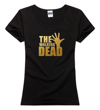 Cotton Fashion Hip-hop women lady girl wasit slim Brand new The Walking Dead golden Tee Camiseta T-Shirt T shirt Tee top gift