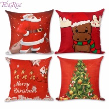 FENGRISE Merry Christmas Decorations For Home Xmas Pillowcase Santa Claus 45x45cm Reindeer Linen Cushion Cover New Year Decor