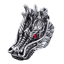 2017 New Design Dragon Head Rings For Men Punk Rock Style Red Stone Rings Party Jewelry Rings for Men Jewelry Gifts Accessories