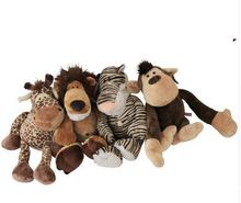 about 25CM jungle lion, tiger ,giraffe, monkey plush toy one lot / 4 pieces, baby toy Xmas gift d2001