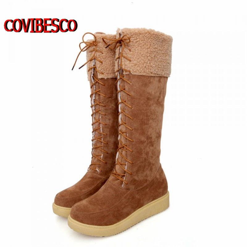 Large size33-43,women high platforms shoes fashion lace up knee high boots warm winter snow boots woman long warm boots<br><br>Aliexpress