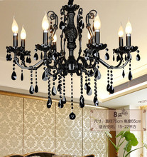 coffee shop 8 led candle lights Black crystal hanging light chandelier black crystal chandelier led fixture French hot sale