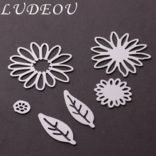 6 Pcs/lot Chrysant Flowers and Leaves Set Metal Cutting DiesTemplate Cutting Dies for Scrapbooking Craft Dies Metal troqueles(China)