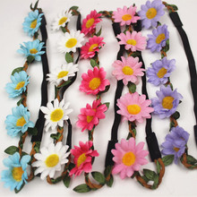 20pcs Wholesale Accessories Girls Bohemian Hair Clips Daisy Flover Headband Hair Bands Bride Garland Headdress Seaside Holiday