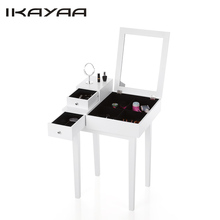 iKayaa US Stock Bedroom Vanity Table Make Up Dressing Table W/ Mirror & Drawer Jewelry Armoires Storage Bedroom Furniture