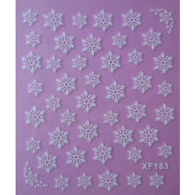 white 3D snowflake design Water Transfer Nails Art Sticker decals lady women manicure tools Nail Wraps Decals(China)