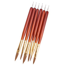 6Pcs Acrylic Nail Brush Nail Art Dotting Tool UV Gel Nail Polish Paiting Pen Salon Manicure Tips DIY Design Drawing Brushes(China)