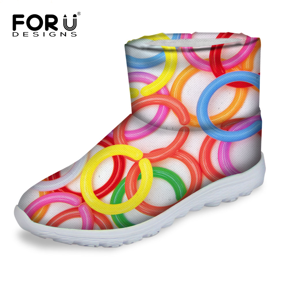 FORUDESIGNS Casual Light Snow Boots Women 2016 Colorful Geometry Pattern Womens Waterproof Ladies Rain Boots Chaussure Femme<br>