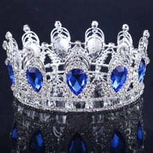 2017 King/Queen Crown for wedding party rhinestone Crown crystal crown Water Drop Tiaras Gold/Silver Color Wedding Crown(China)
