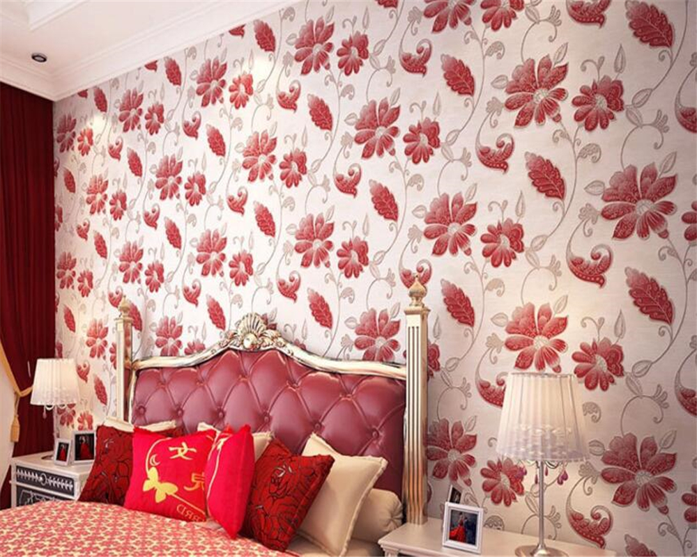 beibehang Embossed aesthetic three-dimensional papel de parede 3d wallpaper nonwoven pastoral bedroom wall paper background <br>