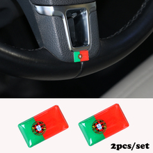2pcs/set Steering wheel 3D Epoxy Car Styling fit for Toyota avensis Corolla Camry RAV4 Car Sticker Portugal National Emblem