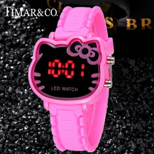 Rose Hello Kitty Led Digital Watch Children Watches Cat Head Baby Clocks Cartoon Enfant Ceasuie Femme Rejores Ladies Dress Saats