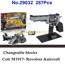 Jie Star 29032 257pcs 2in1 Gun Colt Revolver Pistol Aircraft Weapon Building Block Brick Toy