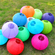 20cm Round Chinese Paper Lantern Birthday Paper Lanterns for Wedding Party Decoration Gift Craft DIY Wholesale Retail(China)