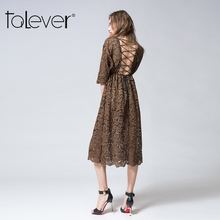 Buy Talever Summer Sexy Elegant Women Lace beach Dress O-Neck Backless Openwork Vintage Midi Sundress Women's Party Dresses vestidos for $23.33 in AliExpress store