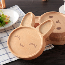 Kawaii Cartoon Rabbit Face Wood Dinner Plate Cute Animal Pattern Food Fruits Dish Wooden Service Plate Kid's Wood Dining Tray(China)