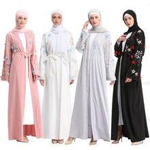 Arabic Abaya Dubai Kaftan Arab Islam Women Long Floral Muslim Kimono Cardigan Hijab Dress Turkish Mubarak Islamic Clothing(China)