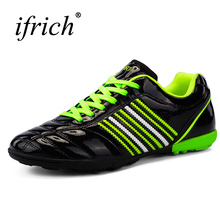 2017 New Soccer Shoes Man Boys Football Sneakers Black Orange Football Turf Shoes Leather Mens Cleats Cheap Football Trainers