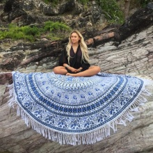 New Mandala Tapestry Thin Polyester Cloth Round Beach Mat Tassel Mandala Yoga Mat Serviette De Plage toalla playa 3 Color(China)