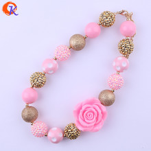 Cordial Design Fashion Kids Handmade Beads Jewelry Gold Pink Flower Necklaces Jewelry Manufacturer For Amazon Ebay CDNL-410675(China)