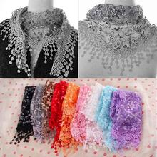 NEW Fashion Hollow Tassel Lace Rose Floral Knit Triangle Veil Scarf Women Embroidered Tassel scarves All-match Shawls & Wraps