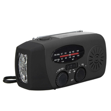 Waterproof Portable Hand crank Solar Radio AM / FM 3 LED Flashlight Phone Charger black(China)
